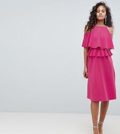 Приталенное платье миди с оборками ASOS DESIGN Tall - Розовый