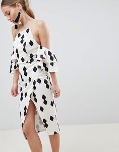 Платье миди с оборками на рукавах и запахом ASOS DESIGN - Мульти