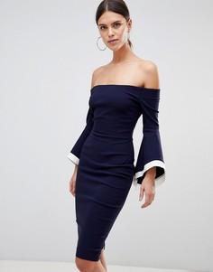 Платье с широким вырезом и рукавами клеш Vesper - Темно-синий