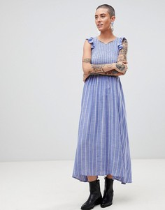 Платье миди из шамбре с бабочками Free People - Синий