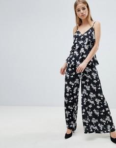 Широкие брюки с цветочным принтом Angel Eye - Черный