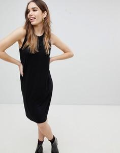 Трикотажное платье-футболка мини без рукавов Monki - Черный