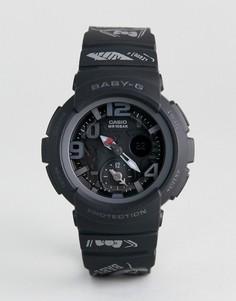 Черные цифровые часы с силиконовым ремешком Baby-G By Casio X Hello Kitty - Черный