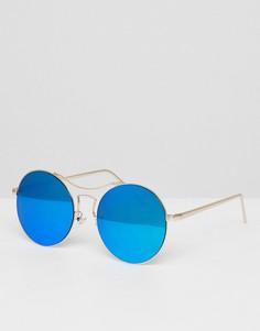 Круглые солнцезащитные очки с синими стеклами AJ Morgan - Золотой