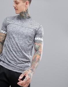 Серая футболка с окантовкой boohooMAN Active - Серый