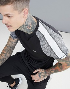 Черная футболка колор блок boohooMAN Active - Черный