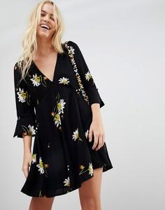 Платье с цветочным принтом Free People Time On My Side - Черный