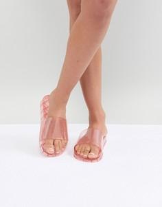 Розовые шлепанцы из гибкого пластика с блестками Accessorize - Розовый