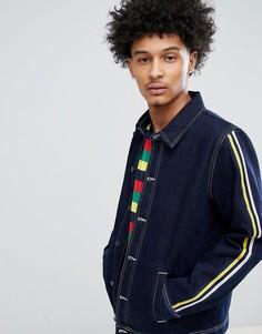 Синяя джинсовая спортивная куртка с полосками на рукавах ASOS DESIGN - Синий