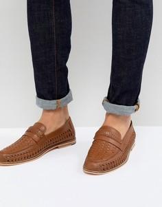 Светло-коричневые туфли с плетеной отделкой Frank Wright - Рыжий