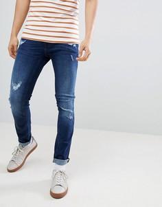 Темные состаренные джинсы скинни Blend Cirrus - Темно-синий