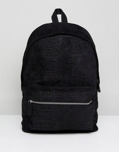 Черный замшевый рюкзак в винтажном стиле с эффектом крокодиловой кожи ASOS DESIGN - Черный