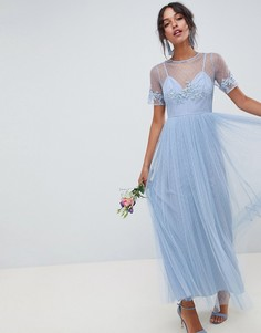 Платье макси с кружевом ASOS DESIGN - Синий