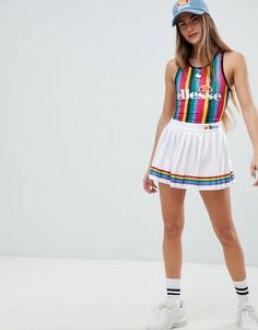 Теннисная юбка c разноцветными складками Ellesse - Белый