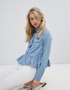 Джинсовая рубашка с оборкой Urban Bliss - Синий