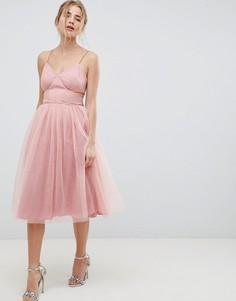 Платье миди для выпускного с вырезами и бантом ASOS DESIGN - Розовый