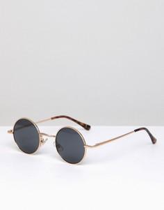 Круглые солнцезащитные очки в золотистой оправе River Island - Золотой