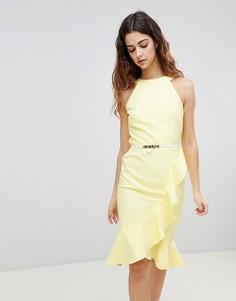 Платье с оборкой и поясом Paper Dolls - Желтый
