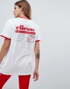 Футболка с окантовкой и принтом на спине Ellesse - Белый