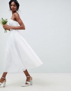 Свадебное платье-бандо миди с тюлевой отделкой ASOS EDITION - Белый