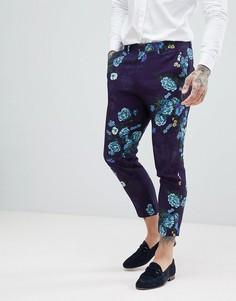 Темно-синие укороченные брюки скинни с цветочным принтом ASOS DESIGN - Темно-синий