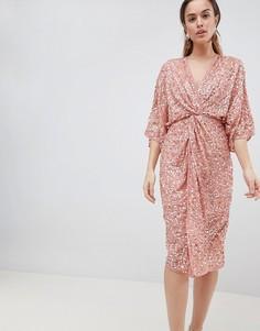 Платье-кимоно миди с пайетками ASOS DESIGN - Медный