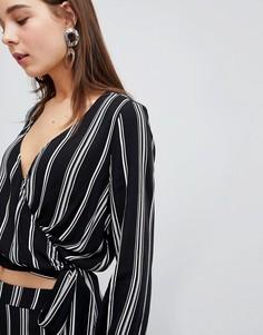 Комбинируемая блузка в полоску с глубоким V-образным вырезом New Look - Черный