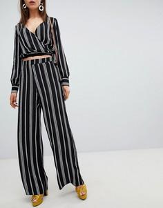 Комбинируемые широкие брюки в полоску New Look - Черный
