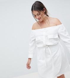 Льняное платье мини с открытыми плечами ASOS DESIGN Curve - Белый