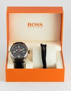 Подарочный набор из часов с черным ремешком и браслета BOSS Orange By Hugo Boss - Черный