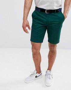 Зеленые зауженные шорты чиносы с ремнем River Island - Зеленый