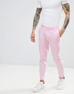 Розовые укороченные брюки зауженного кроя River Island - Розовый