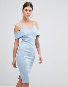 Платье-футляр с открытыми плечами Vesper - Синий