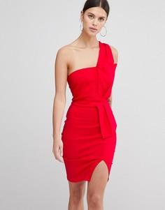 Платье-футляр на одно плечо Vesper - Красный