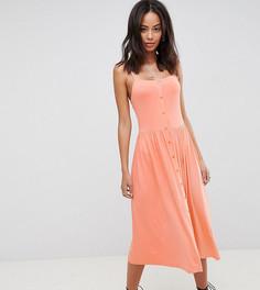 Свободное платье миди с квадратным вырезом и пуговицами ASOS DESIGN Tall - Оранжевый