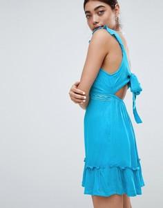 Пляжное платье с вырезом и бантом сзади River Island - Синий