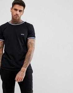 Черная футболка со вставками в рубчик boohooMAN - Черный