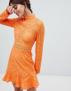 Кружевное приталенное платье мини Lioness - Оранжевый