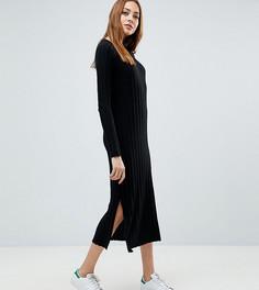 Платье миди в широкий рубчик ASOS TALL - Черный