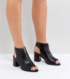 Босоножки для широкой стопы на среднем каблуке с молнией Truffle Collection - Черный