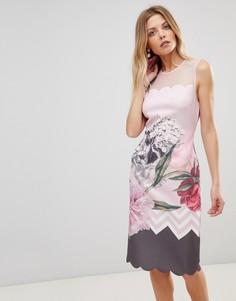 Облегающее платье с фигурными краями Ted Baker Arionah - Розовый