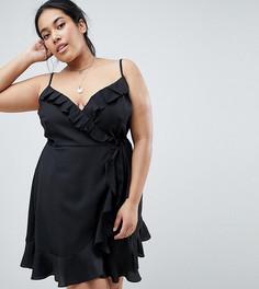 Платье мини с запахом и оборками ASOS DESIGN Curve - Черный