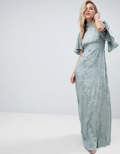 Мягкое жаккардовое платье макси с расклешенными рукавами ASOS - Зеленый