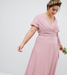Платье макси с запахом и пышными рукавами TFNC Plus - Розовый