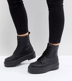 Массивные ботинки для широкой стопы на шнуровке ASOS DESIGN Attitude - Черный