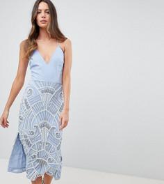 Платье-футляр миди 2 в 1 с декоративной отделкой на юбке Frock And Frill Tall - Синий