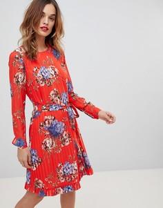 Платье шифт в полоску с цветочным принтом Y.A.S - Мульти