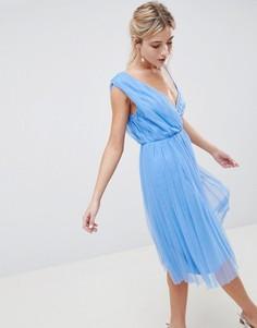 Плиссированное платье миди для выпускного ASOS DESIGN - Синий