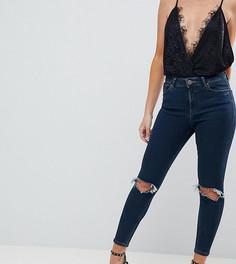 Синие джинсы скинни с завышенной талией ASOS DESIGN Petite Ridley - Синий