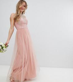 Кружевное платье макси без рукавов Chi Chi London Petite - Розовый